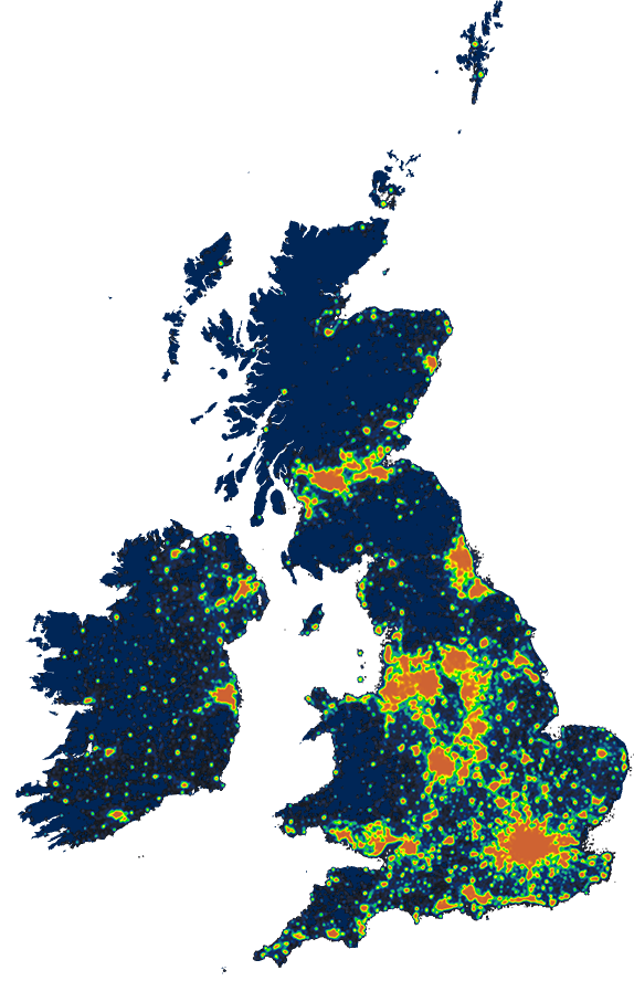 Skyglow - See light pollution across the UK | Hillarys