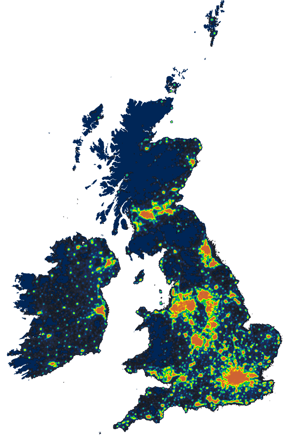 Skyglow  See light pollution across the UK  Hillarys
